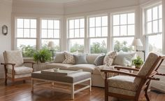 Family Room in a beach with vintage reclining chairs and custom upholstery  Family Room  Great Room  Living  Media  Coastal  TraditionalNeoclassical  Transitional by Liliane Hart Interiors