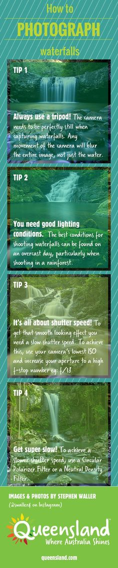 Photography Tips   How to photograph waterfalls INFOGRAPHIC  http://tipsrazzi.com/ppost/547187423463323133/