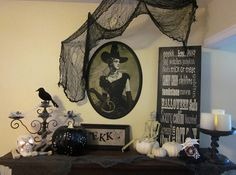 Halloween decor... Maybe could get my mom or gma to be the witch for a realistic pic