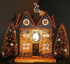 SALE Light Up Halloween Glittered Putz Haunted House Lighted Dept Village Paper | eBay