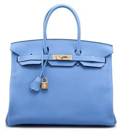 A blue paradise clemence leather birkin 35 bag #hermes