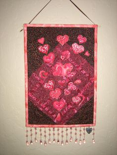 Art Quilt Pink Valentine Hearts Fabric Wall Hanging by TahoeQuilts, $32.00