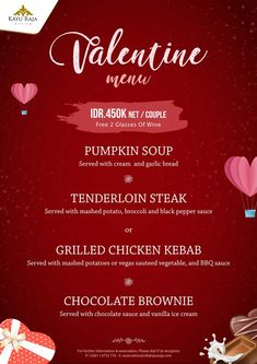 Enjoy Your Special Valentine Moment with our Special Valentine's Menu  . Villa Kayu Raja Restaurant www.villakayuraja.com . For Information & Reservation please contact to : Phone : +62 361 4733 776 Email : reservation@villakayuraja.com . #valentine #day #love #share #special #menu #restaurant #bali #seminyakvilla #balivillas #holiday #overseas #liburan #balisafe #villakayuraja #promotions #lastminute #hotdeal #earlybird #honeymoon #travelling #wonderfulindonesia #luxury