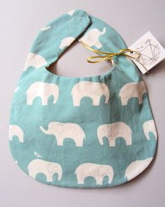 blue elephant bib. My son will have an elephant related room and clothes :)