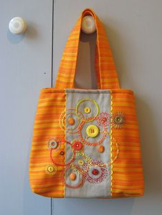 Embroidered Bag, Concentric Circles - also pics of detail
