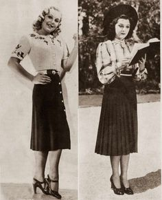 , Sonja Henie and Ann Rutherford fall fashion 1938, GlamourDaze.com, article 1930's Fall Fashion-  Hollywood's Best Dressed, published September 21st 2015 by Gwenn Walters