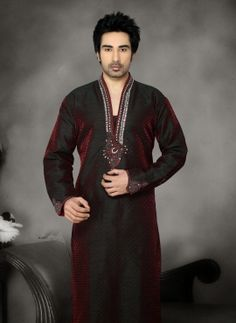 Maroon indian mens kurta pyjama for wedding wear