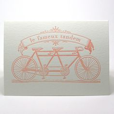 Valentine's Day Love Wedding Anniversary Engagement Bicycle Letterpress Card Famous Bicycle Built for Two in Light Pink. $4.50, via Etsy.