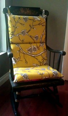 Charming Rocking Chair Cushion Robert Allen Gold Floral By RockinCushions