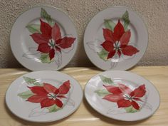 4 - BLOCK SPAL POINSETTIA SALAD PLATES CHINA GOERTZEN WATERCOLORS POINSETTA China Patterns, Salad Plates, Poinsettia, Watercolors, Decorative Plates, Tableware, Home Decor, Chinese Patterns, Water Colors