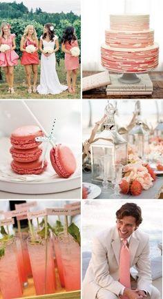 Rich Coral Wedding Inspiration #coral #wedding #details