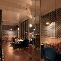 Fish Club designed by Chzon is the newest hip place in Paris. Club Design, Deco Design, House Design, Restaurant Fish, Restaurant Design, Spice India, Branding, Kochi, Design Furniture