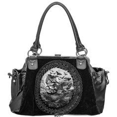 Vamp handbag by Restyle, cameo flying bats print