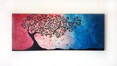 Excited to share the latest addition to my #etsy shop: Christmas Sale, Acrylic painting, 20x50 cm canvas, Tree of love paint, Acrylic Tree paint, Acrylic wallart decor, Christmas gift, Wall deco http://etsy.me/2z9Z8yk #art #painting #blue #christmas #red #anniversary #