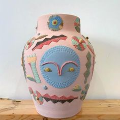 This large Stoneware vase is made with multiple colored clays and pink clay slip, measures tall x wide with a opening and glazed interior Triangle Wall, Large Flowers, Bud Vases, Ceramic Pottery, Stoneware, Clay, Ceramics, Dishes, Drawings