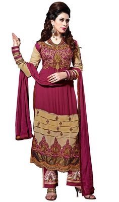 Attract the spotlight among the crowd wearing this salwar kameez in beige and magenta color embroidered georgette. This ravishing attire is heavy embroidered with lace, resham and stones work. #cutworkdress  #borderworkdresses #fushiacolorsuits