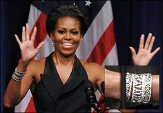 First Lady Michelle Obama sported Katie Decker's stunning cuffs in 2011. Shop more fabulous Katie Decker designs on TouchofFabulous.com