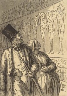 "Honore Daumier, ""The Egyptians weren't good looking!"", 1867.a caricature of french working class gazing at an Egyptian frieze of gods with human torsos but heads of pigs, cocks... at the art museum."