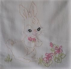 100% cotton hand embroidered baby animal towel bunny
