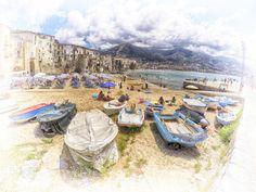 Barche a riposo - Foto elaborata in post-produzione.