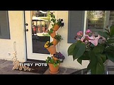 Tipsy Pots — A free-standing vertical garden. The Tamara Twist Stacked Flower Pots, Stacked Pots, Garden Crafts, Garden Projects, Flower Pot Tower, Flower Pot People, Outside Decorations, Deco Originale, Outdoor Crafts