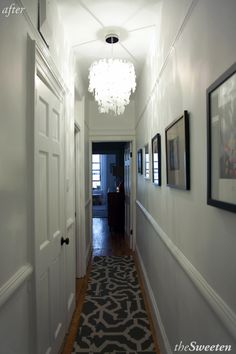 Park Slope Home Renovation - whitewashed walls, architectural details and capiz chandelier