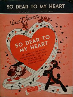 Walt Disney, Vintage Sheet Music, 1948, So Dear to My Heart, Disneyana, Collectible, Owl Professor, Fawn, Heart in musical notes, red, pink