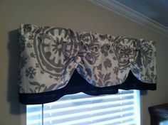 Valance Window Curtain Swagged Swag Custom made Bathroom, Kitchen Designer Twill Fabric Suzani Damask Black, Gray, Storm,White