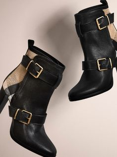 Leather ankle boots for women with check panels and belt detail from Burberry for Autumn/Winter 2014