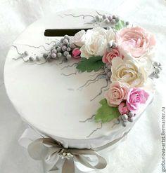 """Купить Казна свадебная, коробка для подарков, сундучок """" Цветочная благодать"""" - бледно-розовый, айвори"""