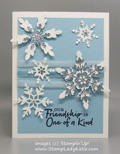 Create the visual effect of a beautiful sparkly snowfall with Stampin'Up!'s Snowflake Wishes stamp set and So Many Snowflakes Layering dies. Add sparkle with Balmy Blue Glimmer paper, Iridescent Snowflake Splendor Ribbon and a few well placed rhinestones. For added effect color the ribbon with Stampin' Blends.New from #StampinUp fall of 2020. Stampin Up Christmas, Christmas Tag, Christmas Trees, Blog Images, Visual Effects, Iridescent, Holiday Cards, Layering, Rhinestones