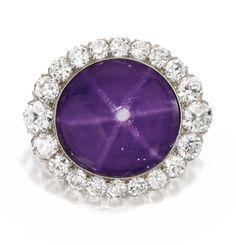 Platinum, Star Sapphire and Diamond Brooch, J.E. Caldwell, Circa 1910