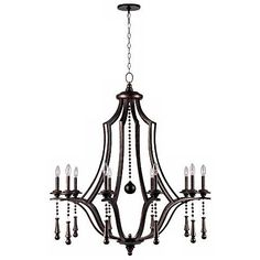 """Crystorama Parson 40"""" Wide English Bronze Chandelier - #4X666 