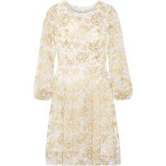 Oscar de la Renta - Metallic Lace Dress ($1,357) ❤ liked on Polyvore featuring dresses, gold, metallic dress, oscar de la renta dresses, lacy dress, white dress and glamorous dresses