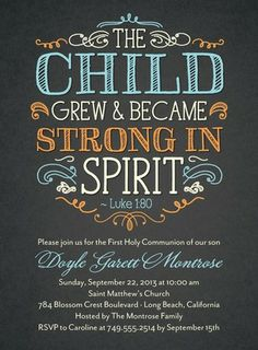 Strong in Spirit: First Communion Invitations in Surf / beach colors
