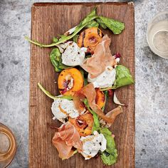 Grilled Apricots with Burrata, Country Ham and Arugula // More Fantastic Grilled Appetizers: http://fandw.me/mur #foodandwine