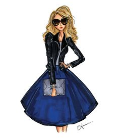 Fashion Illustration Print Cobalt Leather by anumt on Etsy