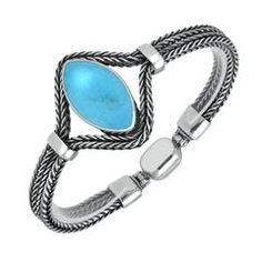 Silver and Turquoise Foxtail Portrait Marquise Bracelet  #foxtail #silver #turquoise
