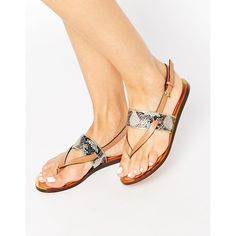 Ted Baker Dendrum Toepost Flat Sandals featuring polyvore, women's fashion, shoes, sandals, leather thong sandals, toe thong sandals, leather footwear, ted baker and flat sandals