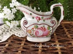 Antique Kings (QUEENS) Rose - Cream Pitcher - Staffordshire c1820 - Gaudy #StaffordshireEngland