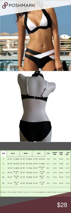 NEW ITEM! Black and White Bikini Super cute bikini! This ties around neck and also has adjustable straps as shown in pic. Bundle for a discount otherwise price is firm. Thanks for shopping! Swim Bikinis