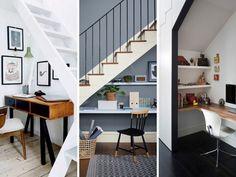 Télétravail : aménager un coin bureau en-dessous de l'escalier  #bureau #rangement #teletravail #maison #design #deco Loft, Bed, Furniture, Houses, Home Decor, Business, Ideas, Desk Nook, Storage Organizers
