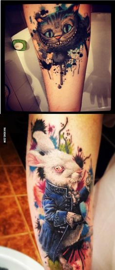 Alice in Wonderland tattoo's
