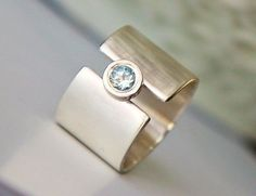 """Wide band engagement ring - wedding band - white sapphire """"lunar ..."""