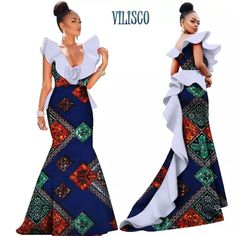 afrikanisches kleid African Print Dresses for Women Bazin Riche Ruffles Size Flower Vestidos Mermaid Long Dresses Traditional Africa Clothing Source by terrywangugi African Formal Dress, African Traditional Wedding Dress, African Prom Dresses, African Wedding Dress, African Attire, African Wear, African Fashion Dresses, African Dress, Long Dresses