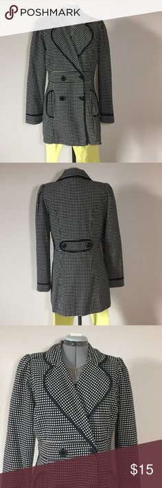"""🆕Listing: Black & White Polka Dot Long Blazer Black & White Polka Dot Long Blazer or Trench. The brand is Wrapper. Size Juniors L measures: 15"""" across shoulders, 19"""" across chest, 31"""" long, 25"""" sleeve, 17"""" across at waist. Fully lined with 2 front pockets. 100% cotton. Has small shoulder pads. 309/025/031117 Wrapper Jackets & Coats Blazers"""