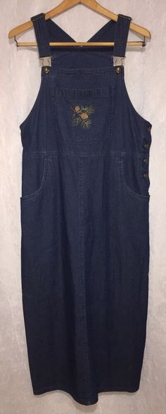 8b54a5a71d7 Details about WOOLRICH M Medium Dark Denim Jumper Overall Dress Embroidered  Long Modest