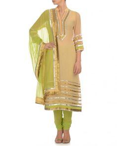 Sand Beige Suit with Pista Green Dupatta