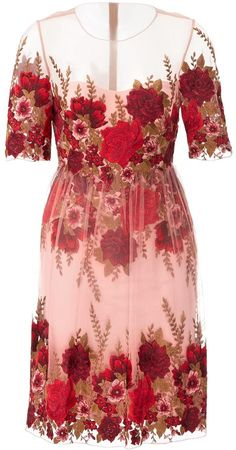Marchesa Notte Rose Throw Dress