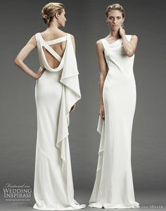 Nicole Miller wedding dress Fall/Winter 2010 - silk stretch dress with asymmetrical neckline, back with diagonal straps and draped ruffle